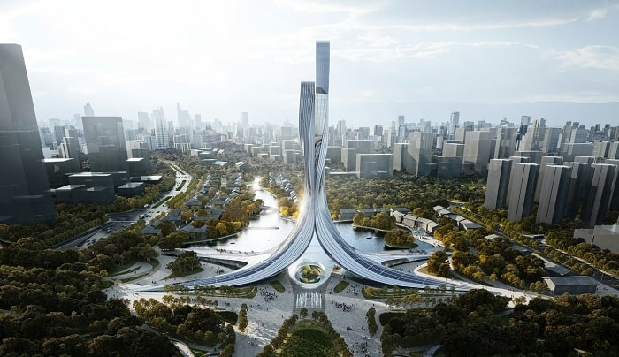 RMJM wins with Chinese design competition with twisting metal towers inspired by geese