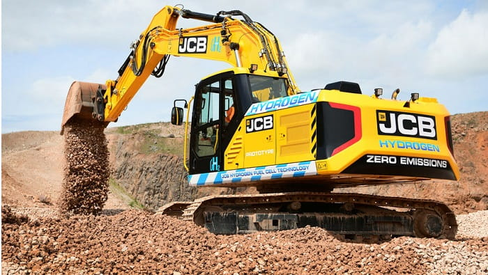 JCB develops construction's first hydrogen-fuelled excavator