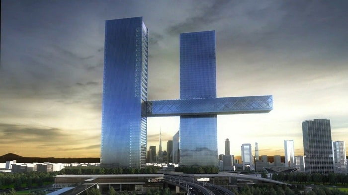 Dubai twin tower scheme with worlds largest cantilever praised for 4D modeling